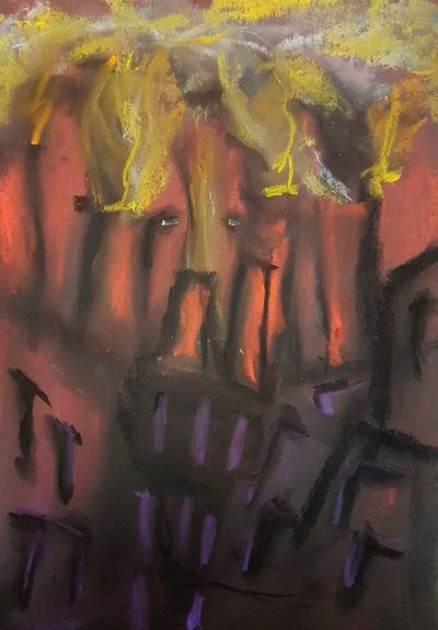 """Fire and Iron"" artist unknown. It depicts the burning furnaces on the slopes of Shikal, which are said to belch forth black smoke in such abundance that the entire mountain-city is cloaked in darkness at all times."