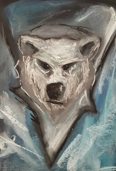 The snow bear, a powerful arctic predator, is often displayed on the battle standards of the warriors of Cathan Canae - often by warriors who ride into battle astride great magical beasts that resemble dire bears with curving ram horns.