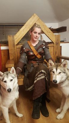 Steinr Thane at home with her hounds.